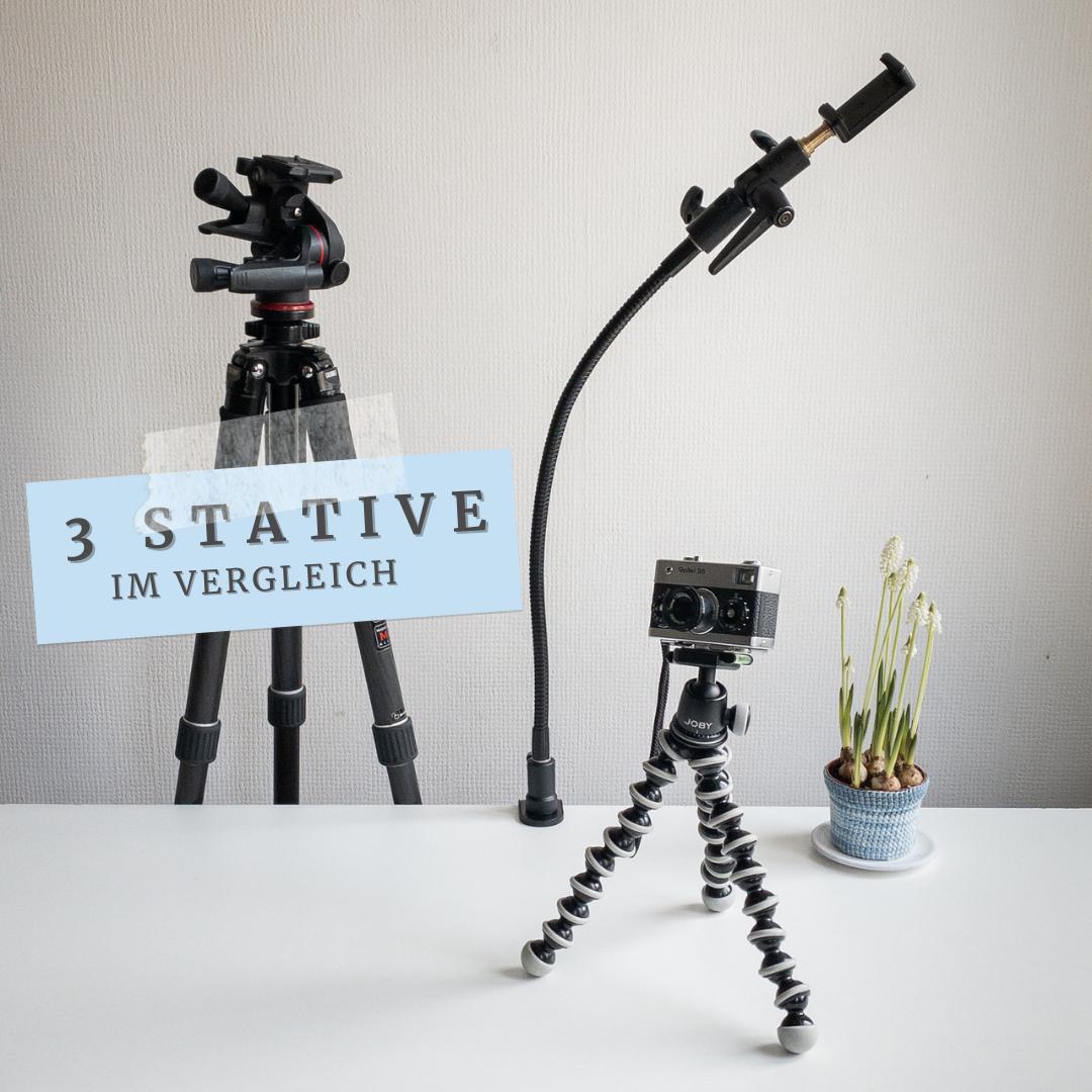 3 Stative im Vergleich: ein großes Kamerastativ, ein Schwanenhalsstativ und ein Gorillapod